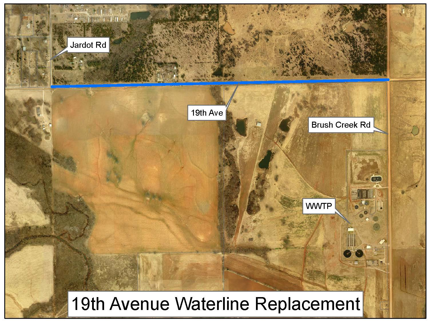 Proposed water line alignment on 19th Avenue