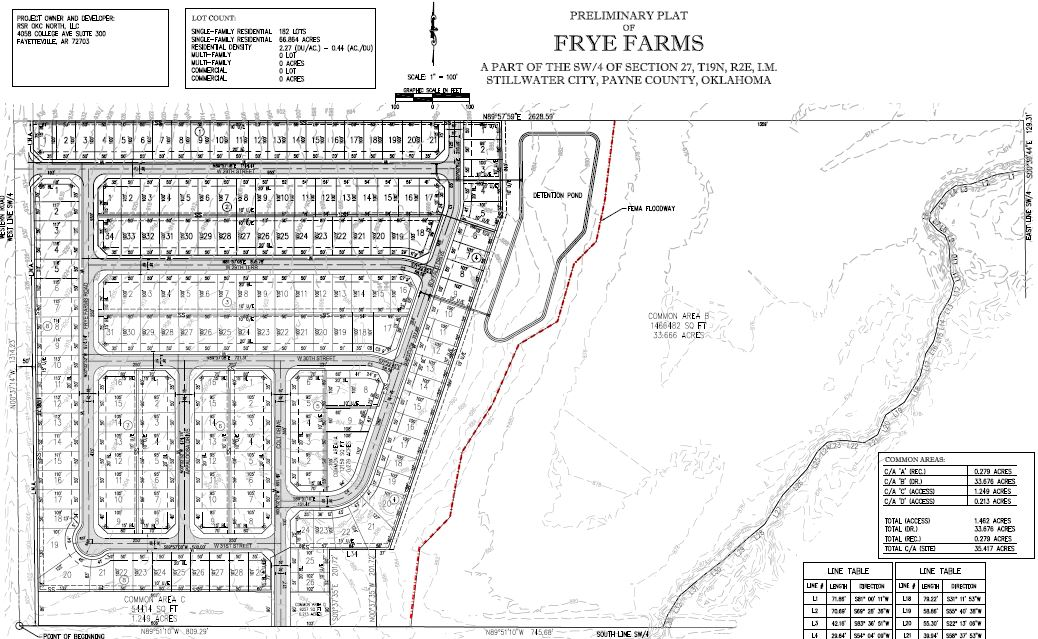 Frye Farms Residential Subdivision map