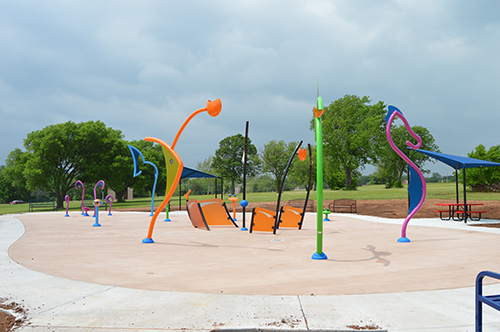 The Boomer Lake Park splash pad nearing completion