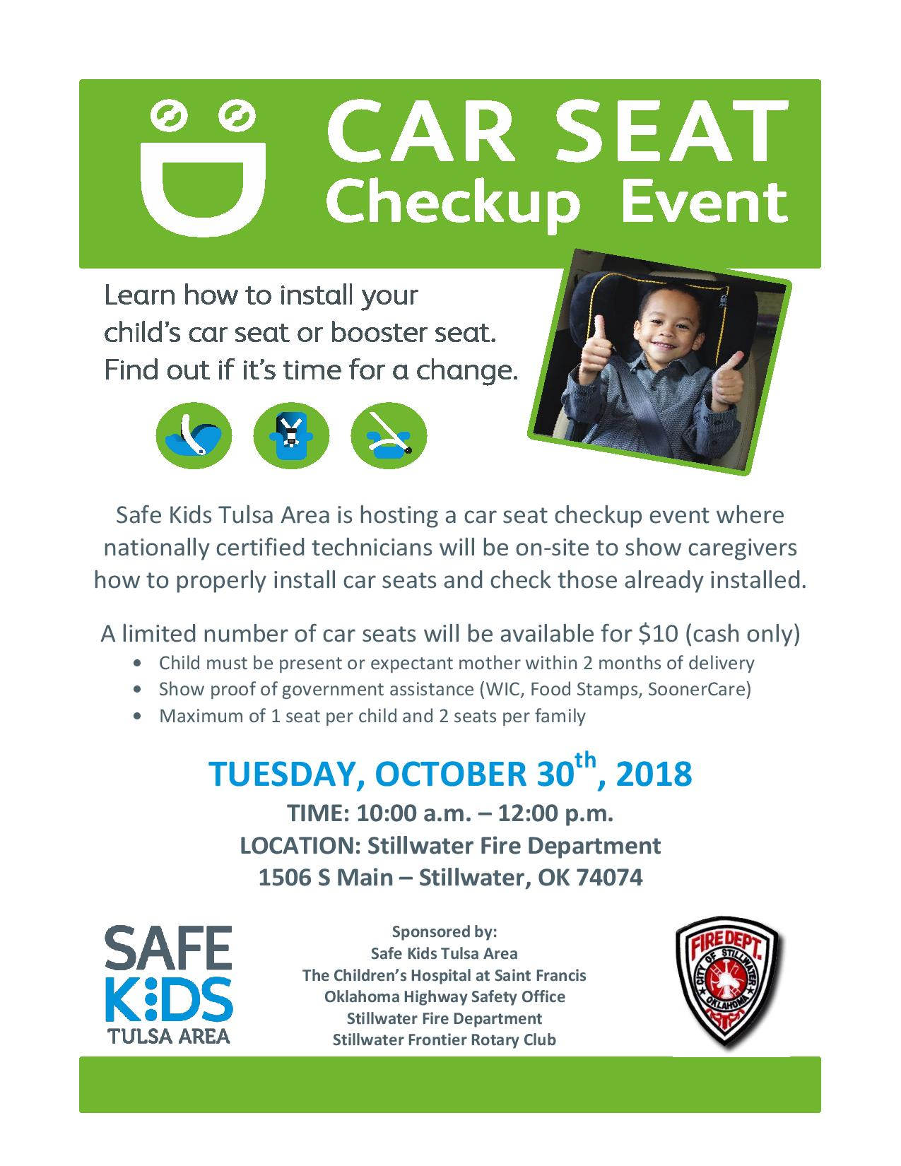 STILLWATER OKLAHOMA Oct 15 2018 The Stillwater Fire Department Is Conducting Free Car Seat Inspections On Tuesday 30 From 10 Am To 12 Pm