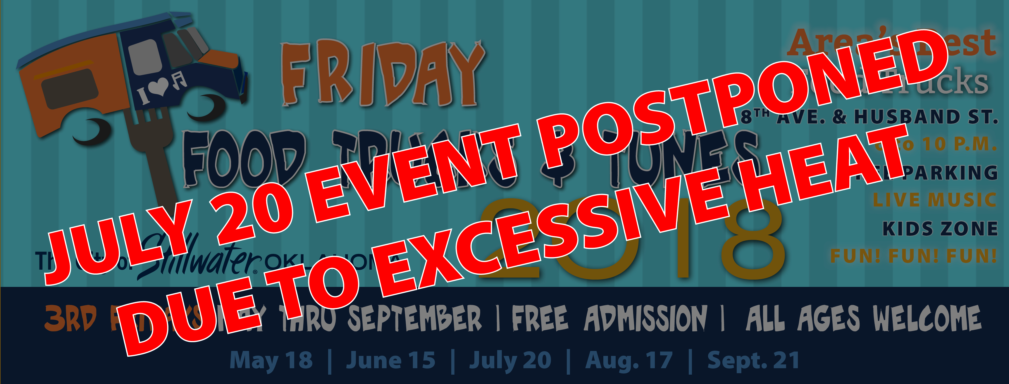 Friday Food Trucks and Tunes July 20 Postponement Banner
