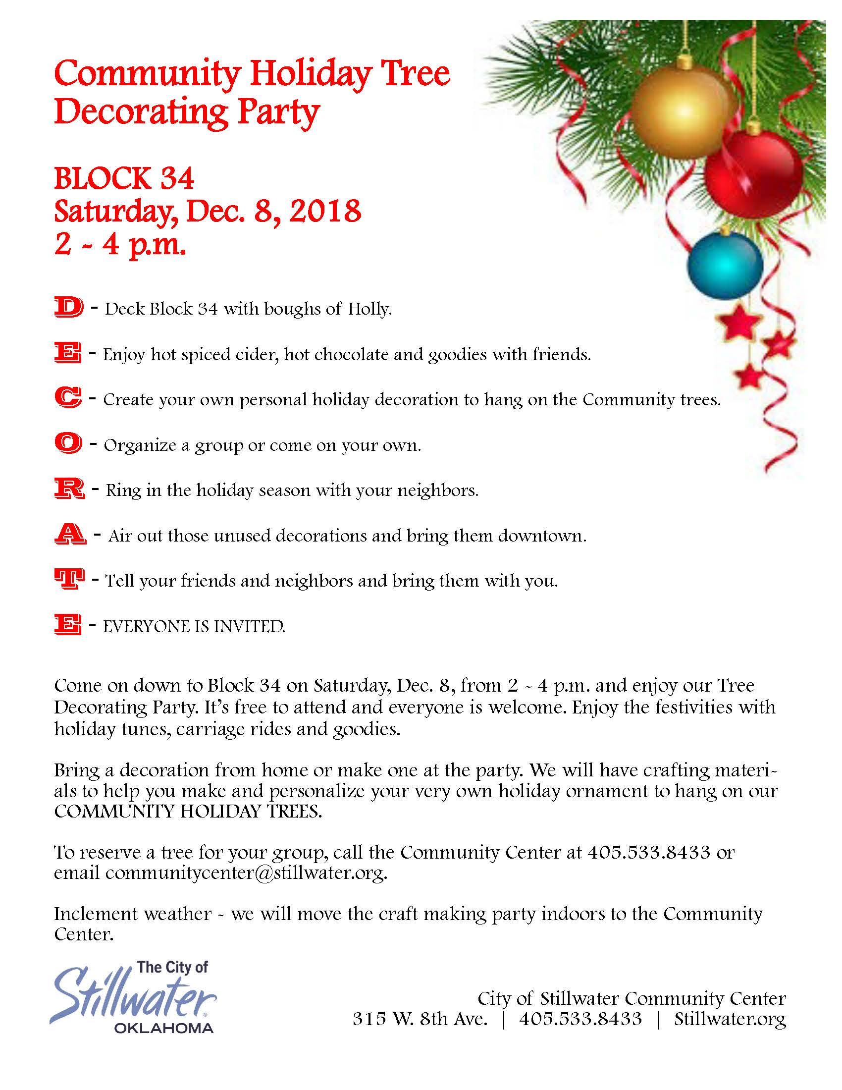 Save the Date: Community Holiday Tree Decorating Party on Dec. 8