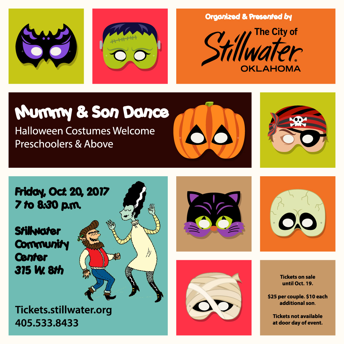 (STILLWATER, OKLAHOMA / Sept. 1, 2017 ) — Get your dancing shoes, masks and  costumes ready for the Mummy and Son Dance on Friday, Oct. 20 from 7 to  8:30 ...