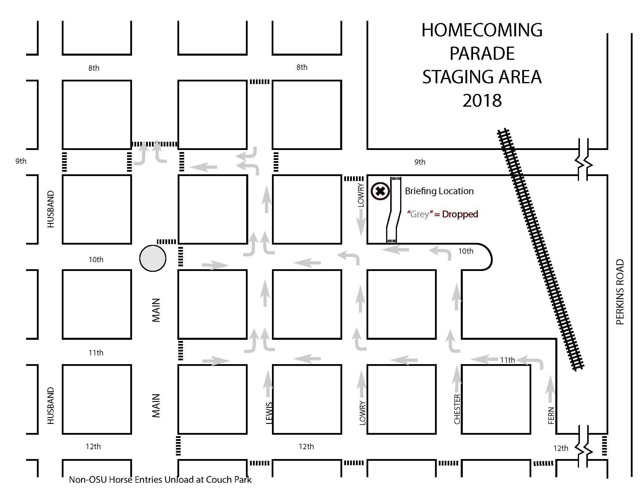 2018 OSU Homecoming Parade Staging Map