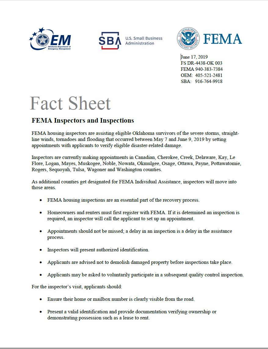 FEMA Fact Sheet on Inspectors and Inspections