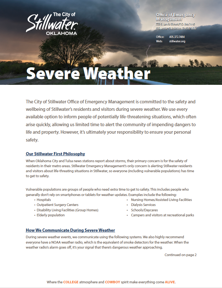 2018 Emergency Management Severe Weather Information