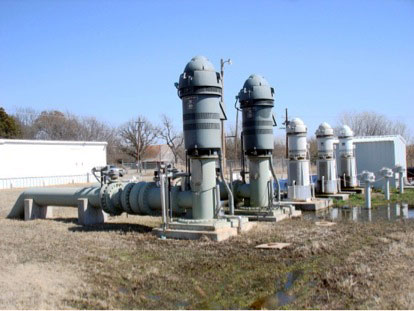 Two 1000 HP pumps and three 200 HP pumps at the Kaw Reservoir pump station