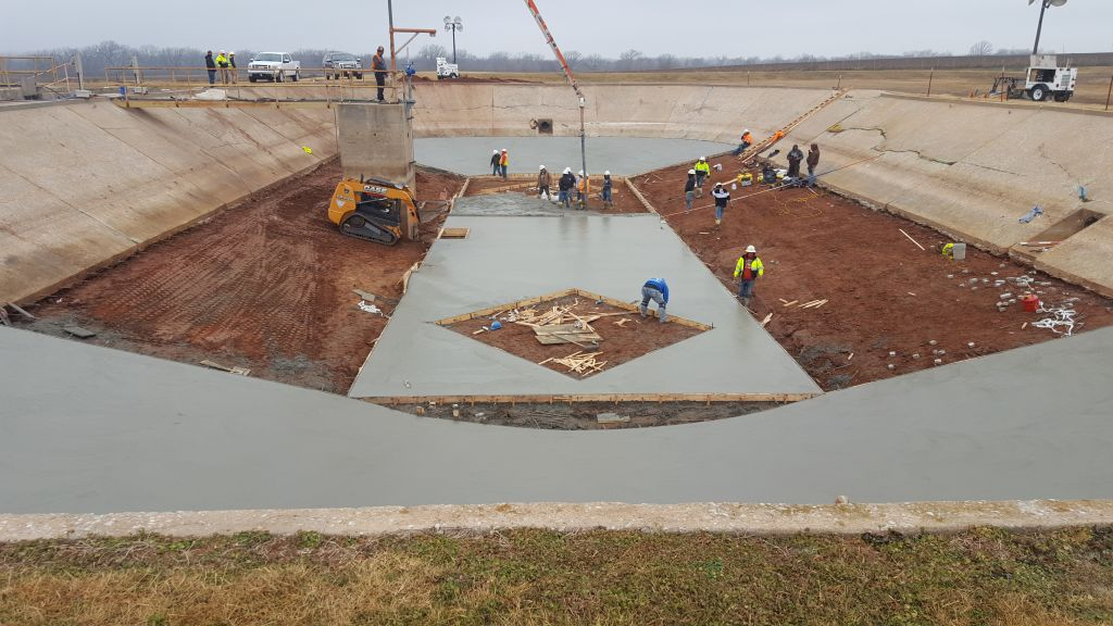 Concrete Liner being poured into the FEB