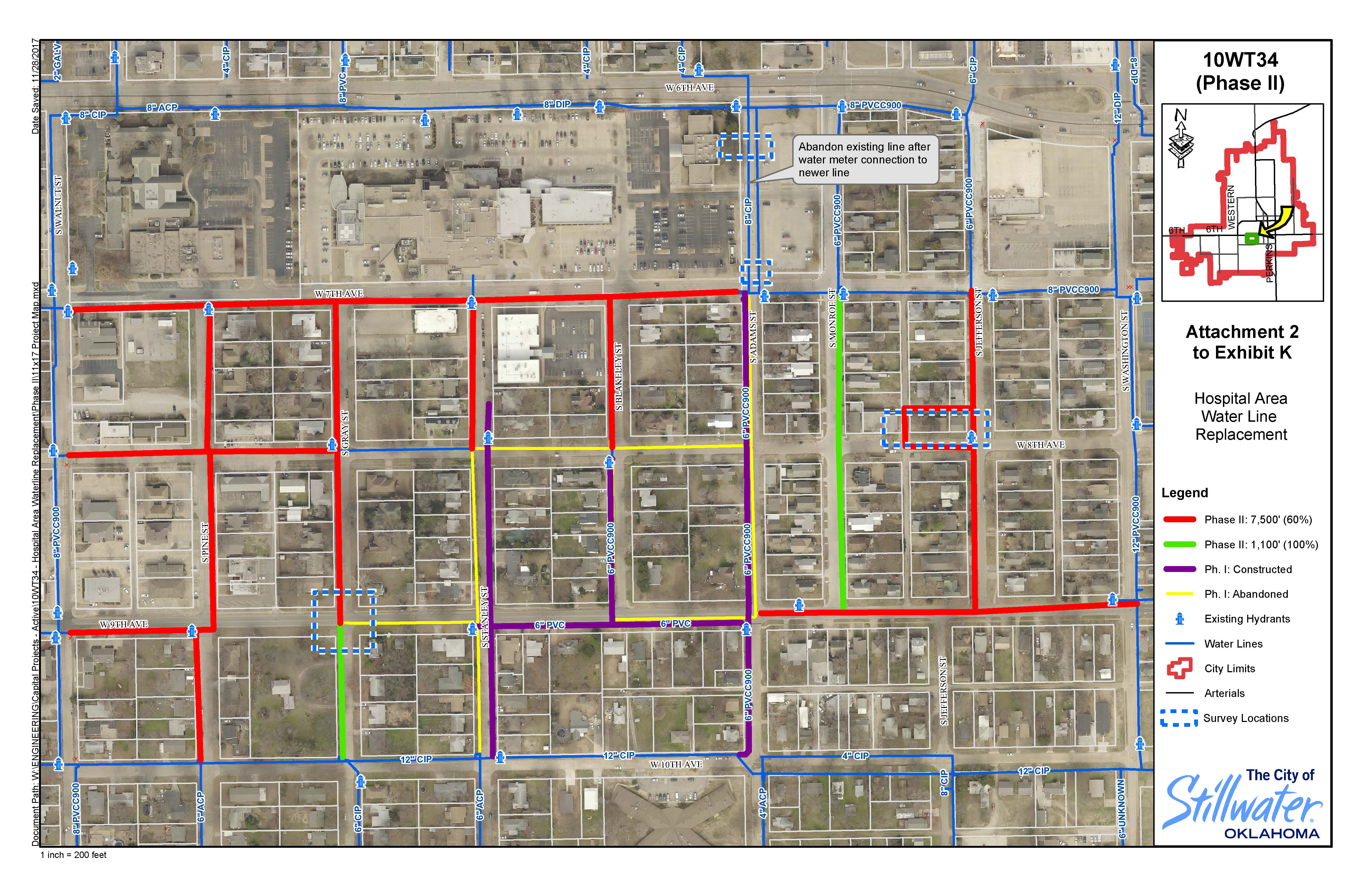 Map of the proposed water line work south of Stillwater Medical Center