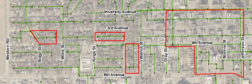 Map showing the project areas between University and 6th and Western and Jefferson